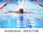 boy swimming butterfly in a... | Shutterstock . vector #482317108