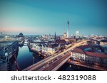 Stock photo berlin mitte skyline at evening berlin germany europe vintage filtered style 482319088