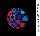 hands arranged in globe shape ... | Shutterstock .eps vector #482323234