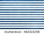 watercolor dark blue striped...   Shutterstock . vector #482323258