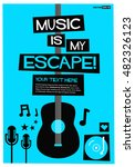 music is my escape   flat style ... | Shutterstock .eps vector #482326123
