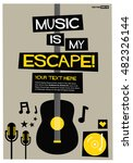 music is my escape   flat style ... | Shutterstock .eps vector #482326144