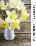 white daffodils at china vase... | Shutterstock . vector #482326960