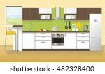 modern kitchen interior with... | Shutterstock .eps vector #482328400