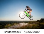 bicyclist riding downhill and... | Shutterstock . vector #482329000
