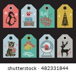 holiday christmas tags  labels. ... | Shutterstock .eps vector #482331844
