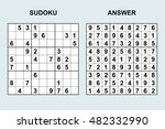 vector sudoku with answer.... | Shutterstock .eps vector #482332990