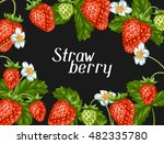 frame with red strawberries.... | Shutterstock .eps vector #482335780