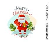 christmas logo with santa claus....   Shutterstock . vector #482341414