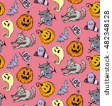 seamless pattern for halloween. ... | Shutterstock .eps vector #482348128