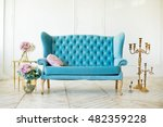beautiful interior   blue sofa  ... | Shutterstock . vector #482359228