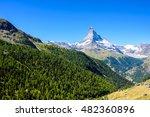 matterhorn   small village with ... | Shutterstock . vector #482360896
