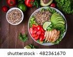 healthy salad bowl with quinoa  ... | Shutterstock . vector #482361670
