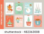collection of 8 christmas gift... | Shutterstock .eps vector #482363008