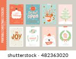 collection of 8 christmas gift... | Shutterstock .eps vector #482363020