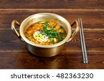 korean ramen with egg and green ...
