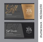 gift voucher gold card and back ... | Shutterstock .eps vector #482366350