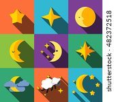 night flat icons set elements ...