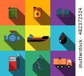 oil flat icons set elements ...