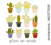 big set of cute cartoon cactus... | Shutterstock .eps vector #482377030