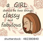 beautiful girl's face with... | Shutterstock .eps vector #482380840