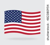 usa waving flag isolated on... | Shutterstock . vector #482380954