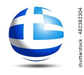 3d greece flag button badge on...