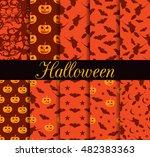ten halloween seamless patterns.... | Shutterstock .eps vector #482383363