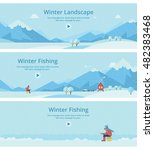 a man on the ice fishing. house ... | Shutterstock .eps vector #482383468