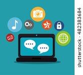 social media network globe... | Shutterstock .eps vector #482383684