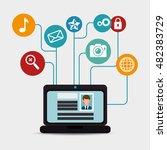 social media network globe... | Shutterstock .eps vector #482383729