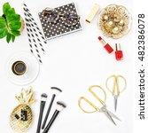 flat lay for feminine website ... | Shutterstock . vector #482386078