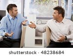 confused businessmen sitting at ... | Shutterstock . vector #48238684