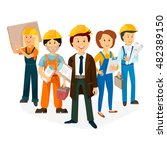 foreman and workers  team of... | Shutterstock .eps vector #482389150