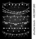 hand drawn christmas garlands... | Shutterstock .eps vector #482389180