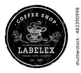 round coffee shop label. hand...   Shutterstock .eps vector #482390998