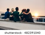 rear view of young men and... | Shutterstock . vector #482391040