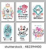 birthday logo  symbols and... | Shutterstock .eps vector #482394400