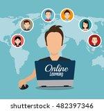 cartoon learn online e book...   Shutterstock .eps vector #482397346