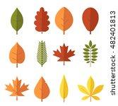 autumn leaf flat design set.... | Shutterstock .eps vector #482401813