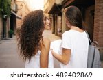 two cute hipster girls with... | Shutterstock . vector #482402869