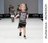 Small photo of Moscow, Russia September 01, 2016: International Fashion Trade Show, collections for spring-summer 2017, on the catwalk models present a new style children's collection for boys.
