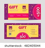 set of purple gift voucher... | Shutterstock .eps vector #482405044