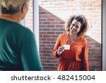 healthcare worker showing her... | Shutterstock . vector #482415004