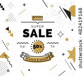 sale poster with black and gold ... | Shutterstock .eps vector #482419168