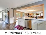 open floor plan white kitchen... | Shutterstock . vector #482424088