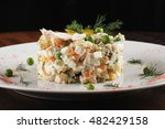olivier salad with chicken in a ... | Shutterstock . vector #482429158
