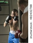 boxer training with heavy bag... | Shutterstock . vector #482432788