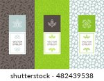 Vector set of packaging design templates, seamless patterns and frames with copy space for text for cosmetics, beauty products, organic and healthy food with leaves and flowers - modern ornaments  | Shutterstock vector #482439538