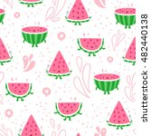 cartoon watermelon fun seamless ... | Shutterstock .eps vector #482440138